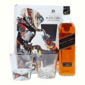 Johnnie Walker Black Label 40 % 0.7 L+ 2 glass Gift, 5000267167336